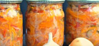 Капустный салат с морковью и перцем на зиму